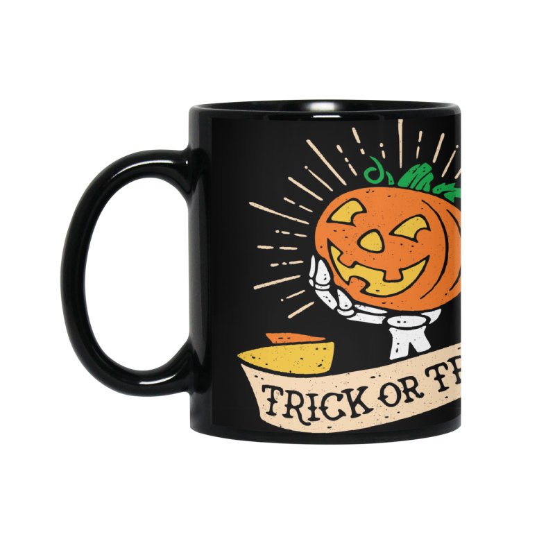 Trick or Treat Pumpkin with Skeleton Hand Accessories Mug by Casper Spell's Shop