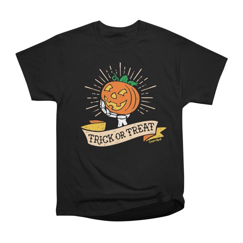 Trick or Treat Pumpkin with Skeleton Hand Women's T-Shirt by Casper Spell's Shop