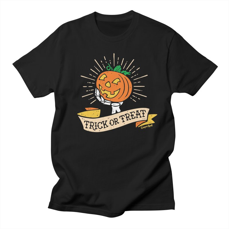 Trick or Treat Pumpkin with Skeleton Hand Men's T-Shirt by Casper Spell's Shop