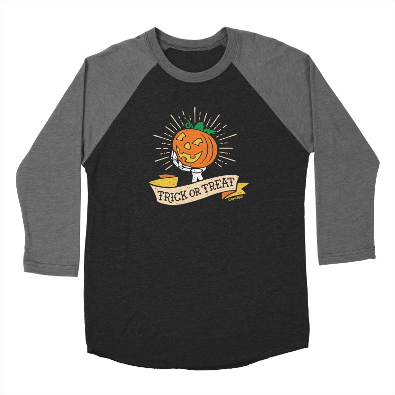 Trick or Treat Pumpkin with Skeleton Hand Men's Longsleeve T-Shirt by Casper Spell's Shop
