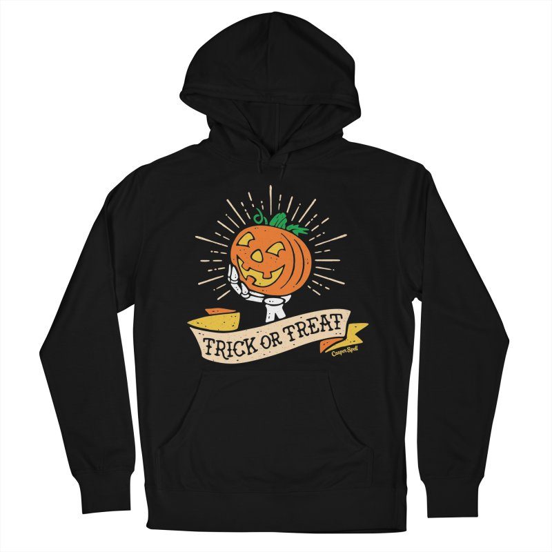 Trick or Treat Pumpkin with Skeleton Hand Women's French Terry Pullover Hoody by Casper Spell's Shop