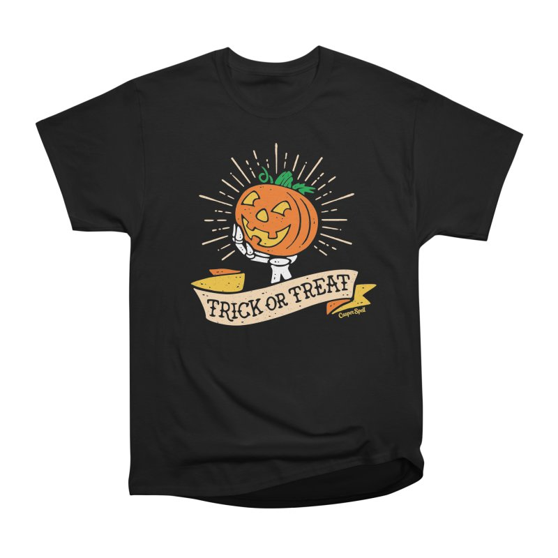 Trick or Treat Pumpkin with Skeleton Hand Women's T-Shirt by Casper Spell's Shop