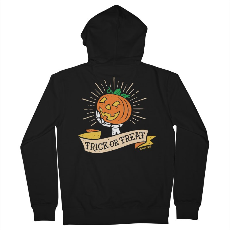 Trick or Treat Pumpkin with Skeleton Hand Women's French Terry Zip-Up Hoody by Casper Spell's Shop