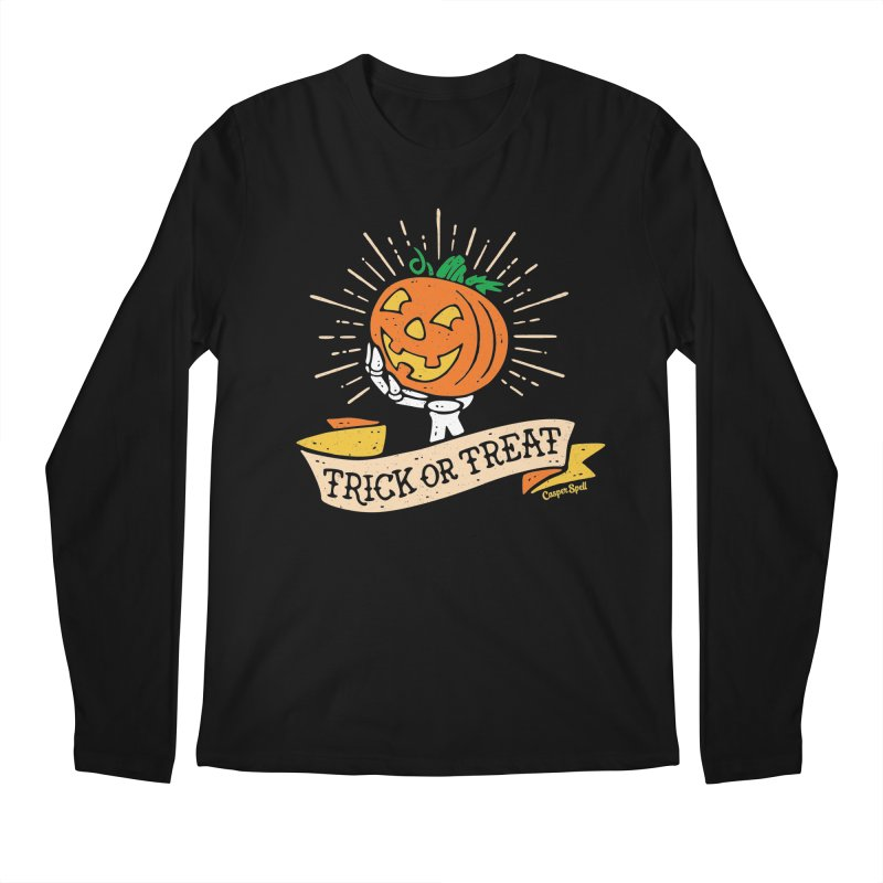 Trick or Treat Pumpkin with Skeleton Hand Men's  by Casper Spell's Shop