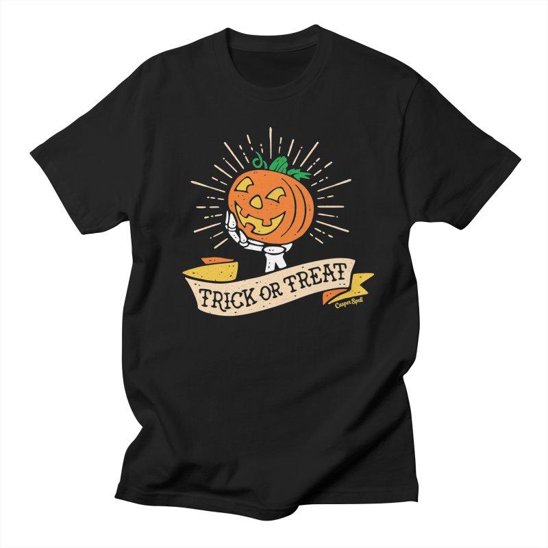 Trick or Treat Pumpkin with Skeleton Hand Men's T-Shirt by Casper Spell's Shop