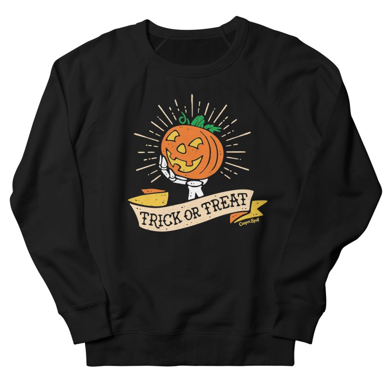 Trick or Treat Pumpkin with Skeleton Hand Women's French Terry Sweatshirt by Casper Spell's Shop