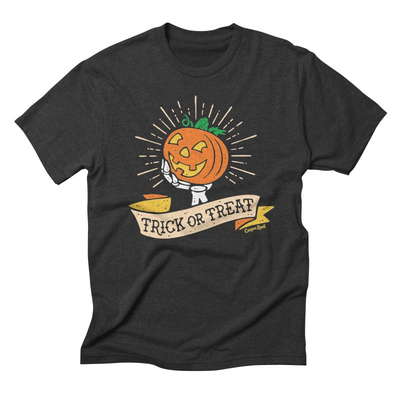 Trick or Treat Pumpkin with Skeleton Hand Men's Triblend T-Shirt by Casper Spell's Shop
