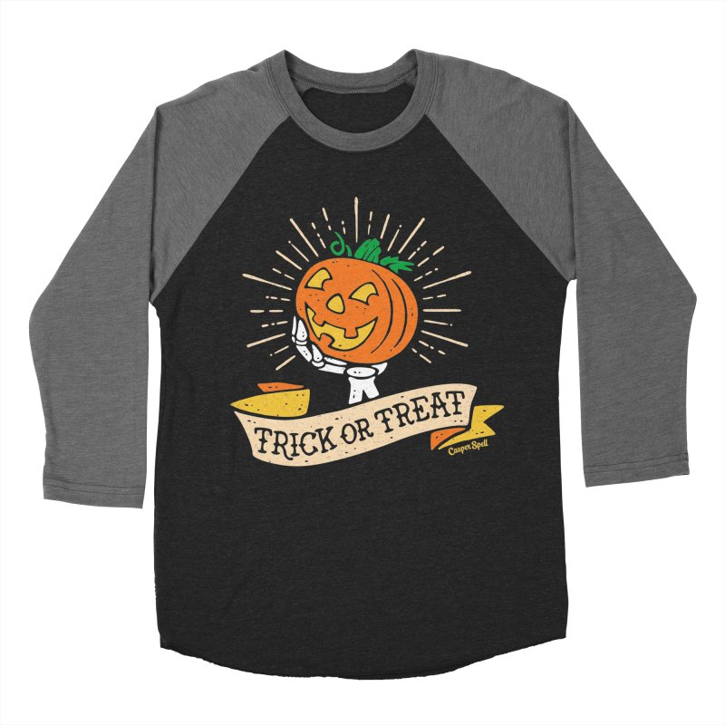 Trick or Treat Pumpkin with Skeleton Hand Men's Baseball Triblend Longsleeve T-Shirt by Casper Spell's Shop