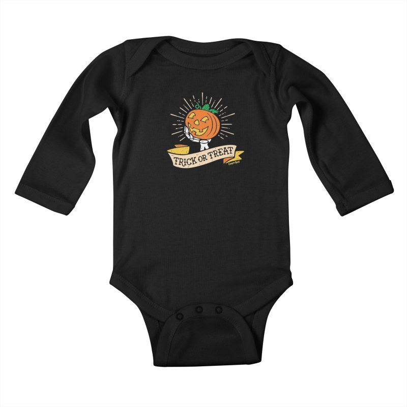 Trick or Treat Pumpkin with Skeleton Hand Kids Baby Longsleeve Bodysuit by Casper Spell's Shop