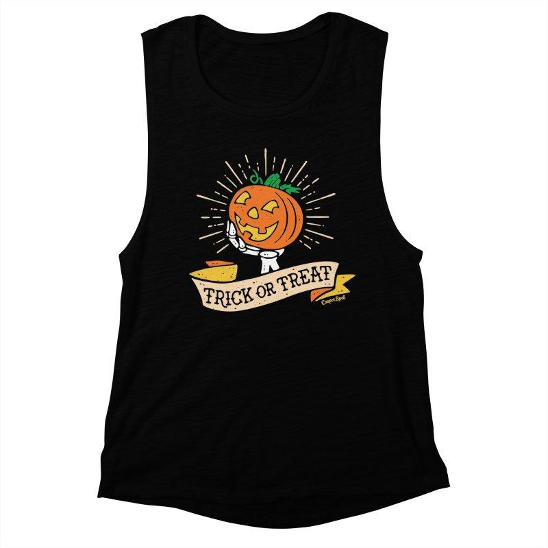 Trick or Treat Pumpkin with Skeleton Hand Women's Muscle Tank by Casper Spell's Shop