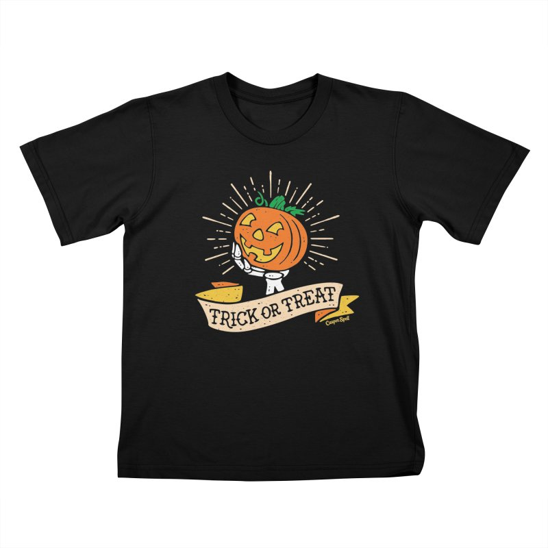 Trick or Treat Pumpkin with Skeleton Hand Kids T-Shirt by Casper Spell's Shop