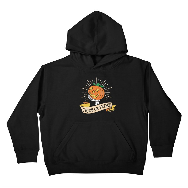 Trick or Treat Pumpkin with Skeleton Hand Kids Pullover Hoody by Casper Spell's Shop