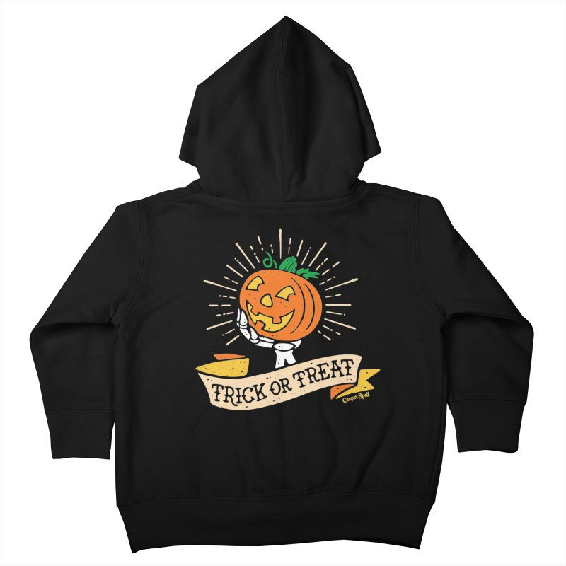 Trick or Treat Pumpkin with Skeleton Hand Kids Toddler Zip-Up Hoody by Casper Spell's Shop