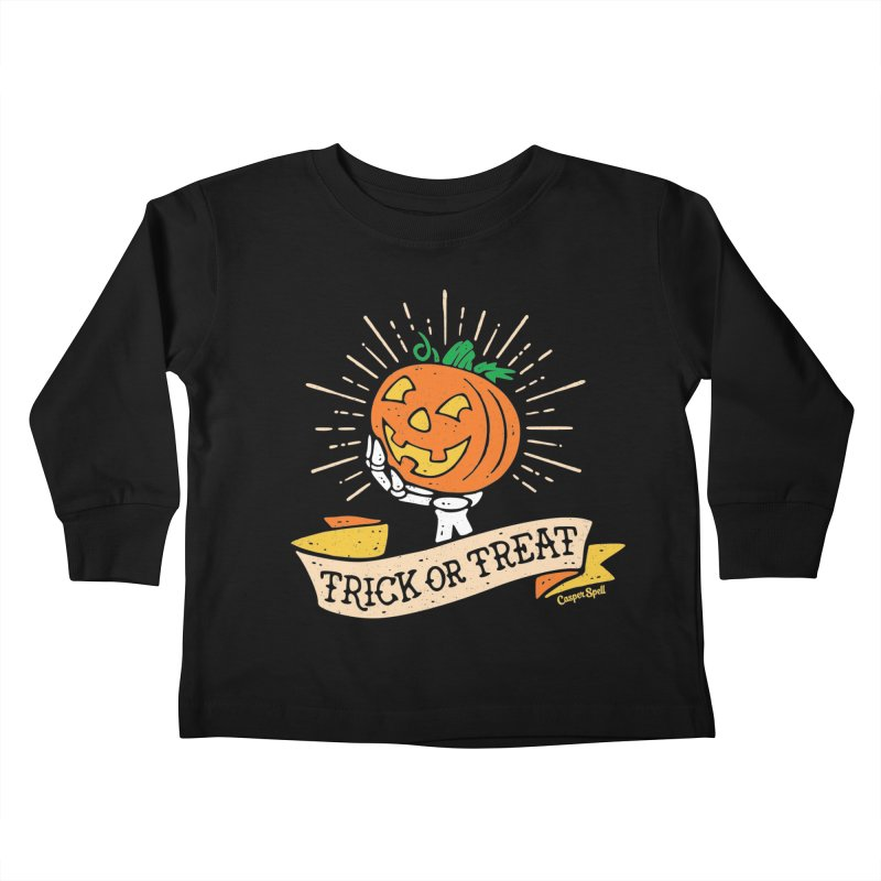 Trick or Treat Pumpkin with Skeleton Hand Kids Toddler Longsleeve T-Shirt by Casper Spell's Shop