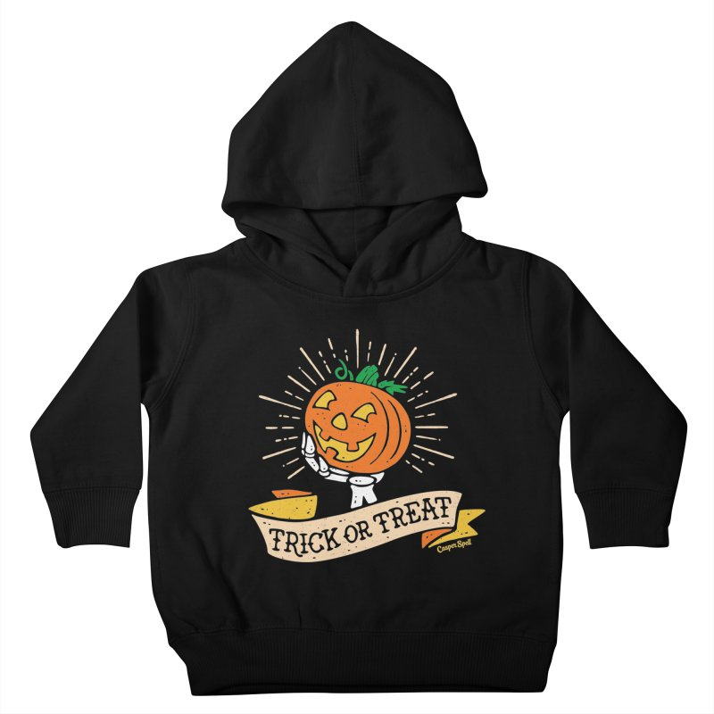 Trick or Treat Pumpkin with Skeleton Hand Kids Toddler Pullover Hoody by Casper Spell's Shop