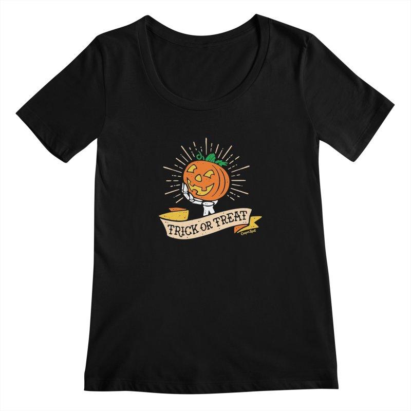 Trick or Treat Pumpkin with Skeleton Hand Women's  by Casper Spell's Shop