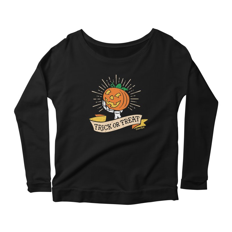Trick or Treat Pumpkin with Skeleton Hand Women's Longsleeve Scoopneck  by Casper Spell's Shop