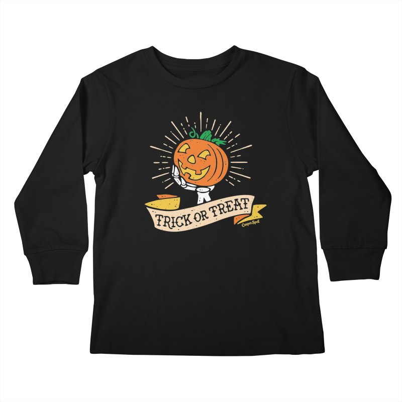 Trick or Treat Pumpkin with Skeleton Hand Kids Longsleeve T-Shirt by Casper Spell's Shop