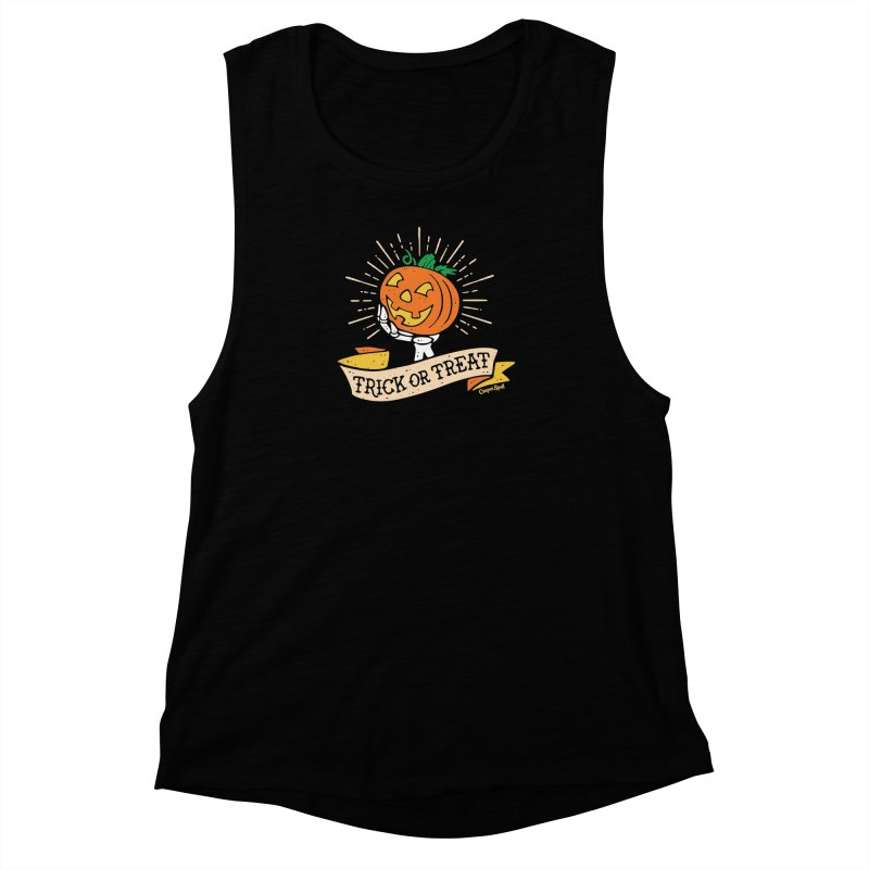 Trick or Treat Pumpkin with Skeleton Hand Women's Muscle Tank by Casper Spell's Shop
