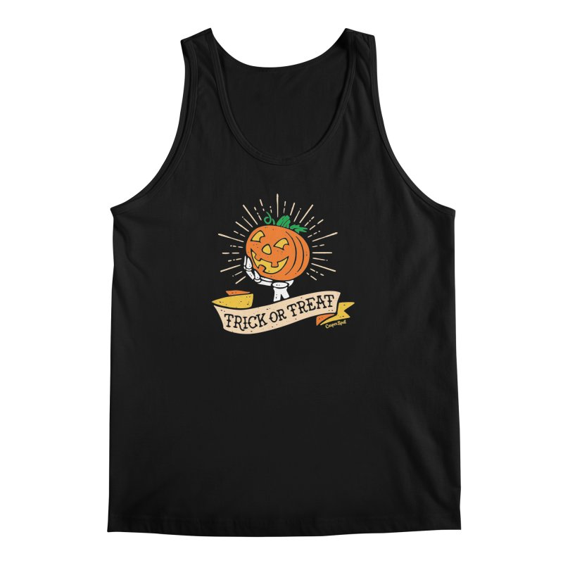 Trick or Treat Pumpkin with Skeleton Hand Men's Regular Tank by Casper Spell's Shop