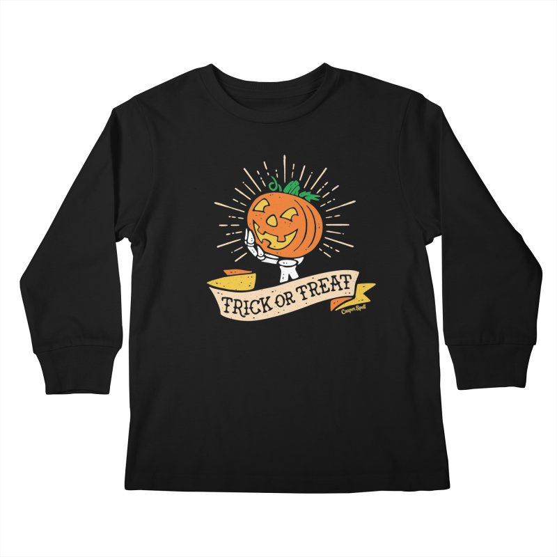 Trick or Treat Pumpkin with Skeleton Hand Kids Longsleeve T-Shirt by Casper Spell's Shop