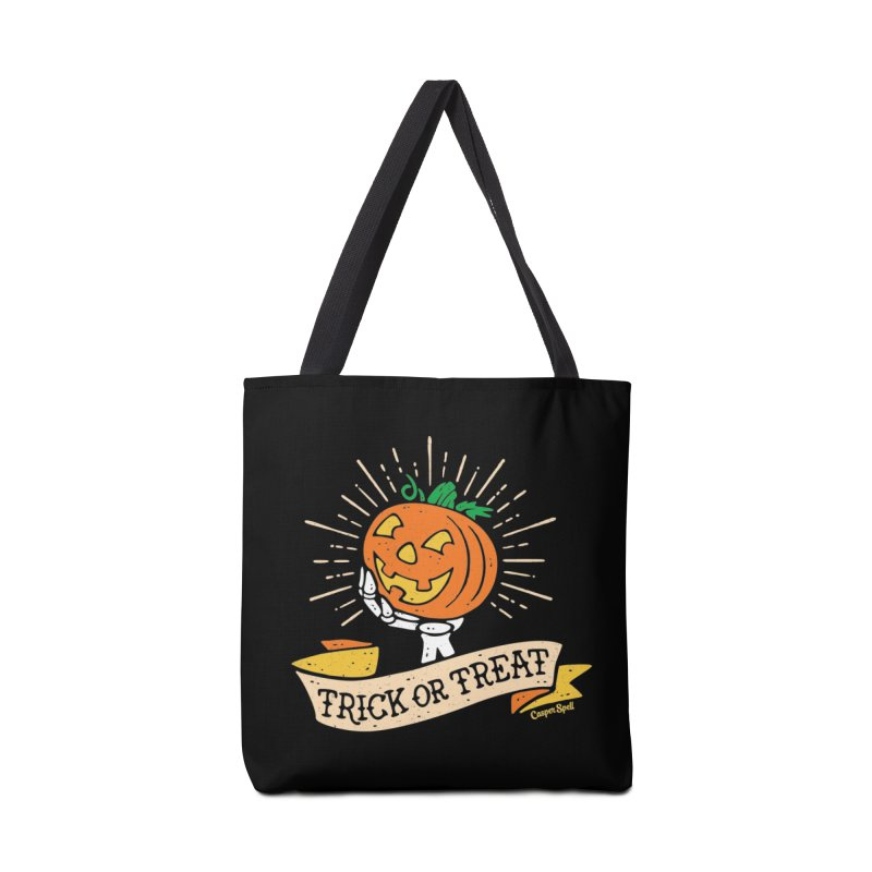 Trick or Treat Pumpkin with Skeleton Hand Accessories Tote Bag Bag by Casper Spell's Shop
