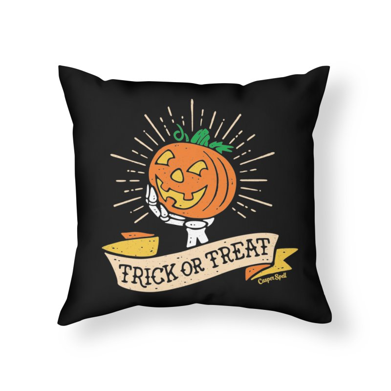 Trick or Treat Pumpkin with Skeleton Hand Home Throw Pillow by Casper Spell's Shop