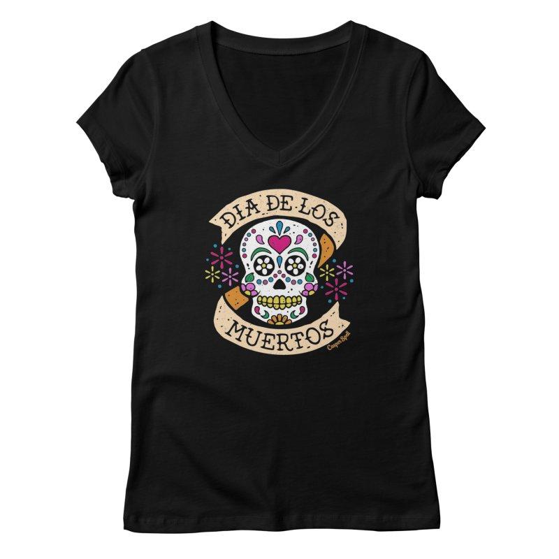 Day of the Dead (Dia de los Muertos) Women's V-Neck by Casper Spell's Shop