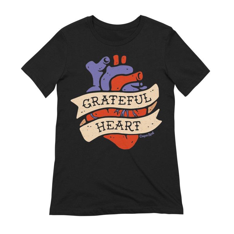 Grateful Heart by Casper Spell Women's French Terry Zip-Up Hoody by Casper Spell's Shop