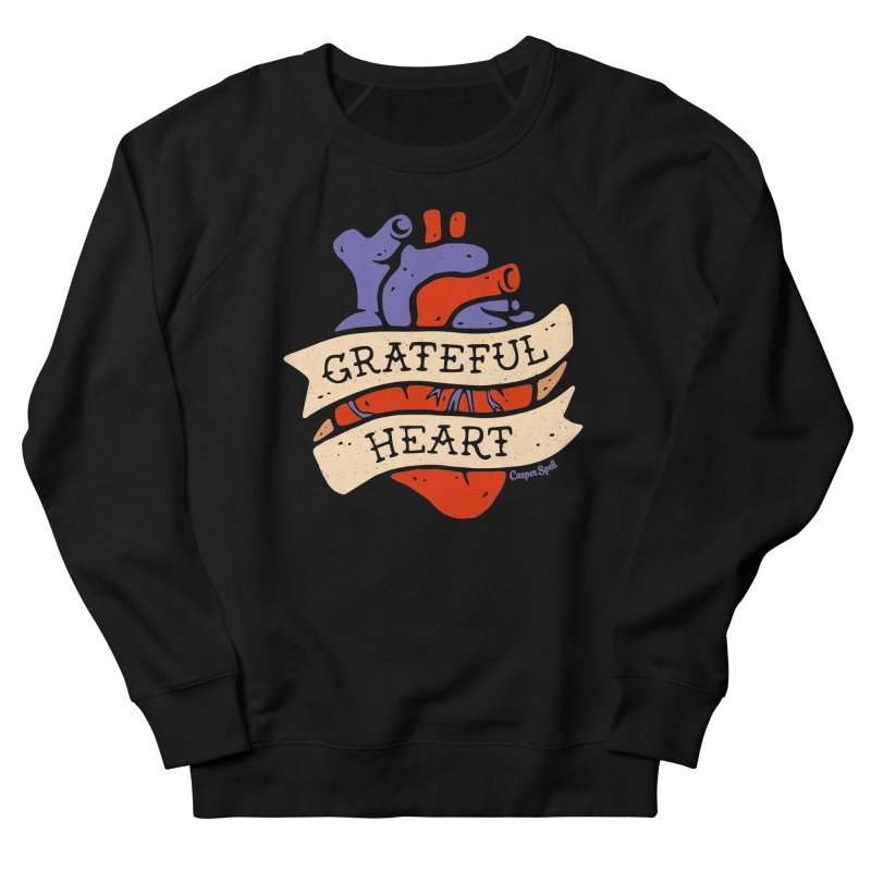 Grateful Heart by Casper Spell Men's French Terry Sweatshirt by Casper Spell's Shop