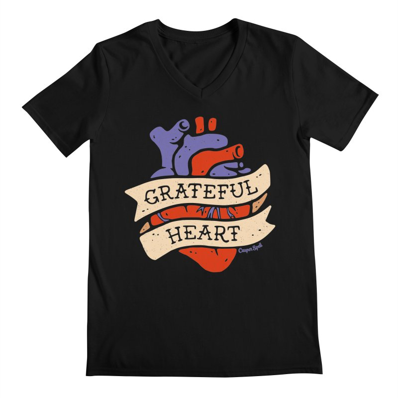 Grateful Heart by Casper Spell Men's Regular V-Neck by Casper Spell's Shop