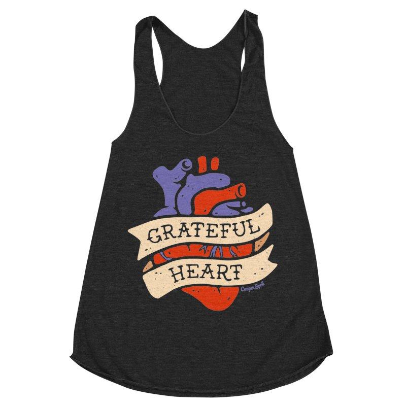 Grateful Heart by Casper Spell Women's Racerback Triblend Tank by Casper Spell's Shop