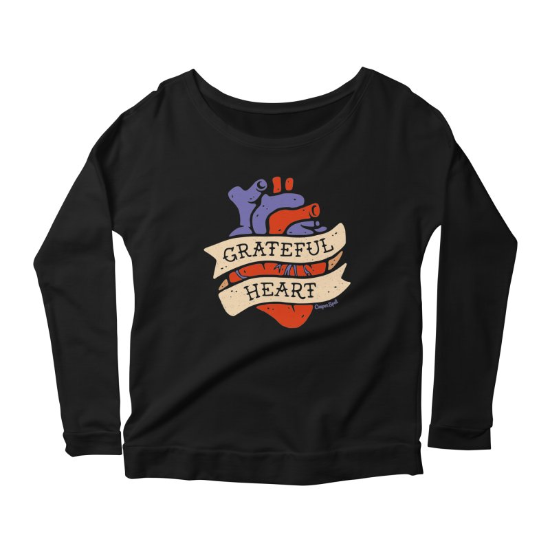 Grateful Heart by Casper Spell Women's Longsleeve Scoopneck  by Casper Spell's Shop