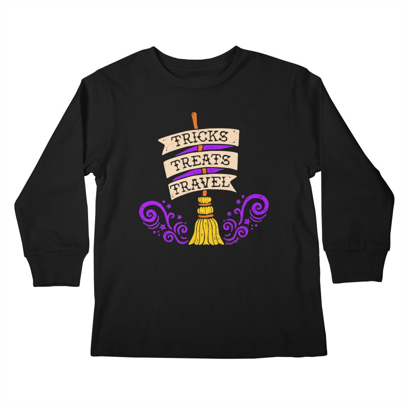 Tricks Treats Travel Kids Longsleeve T-Shirt by Casper Spell's Shop