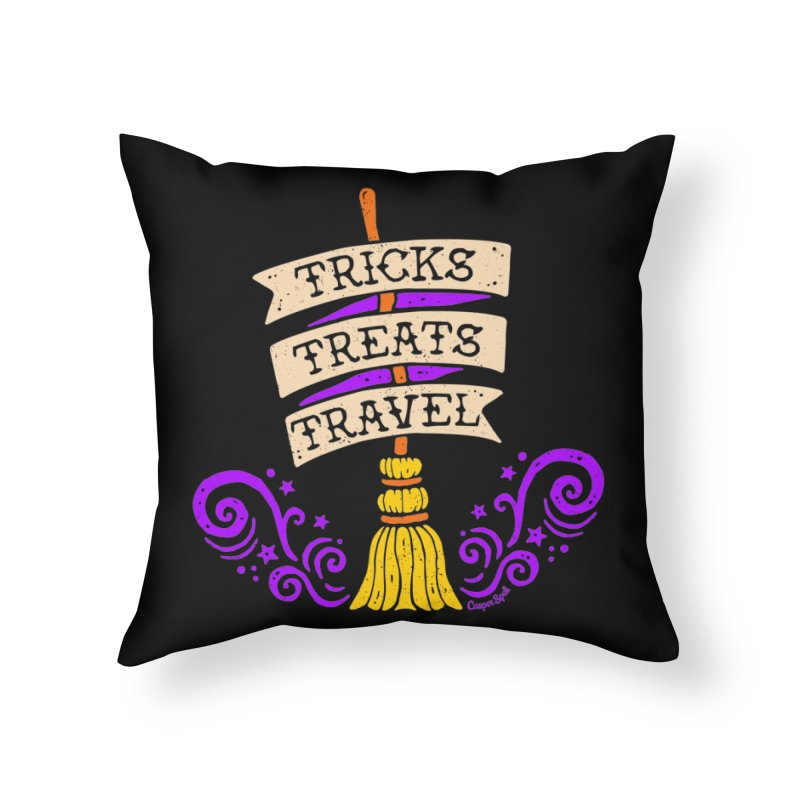 Tricks Treats Travel Home Throw Pillow by Casper Spell's Shop