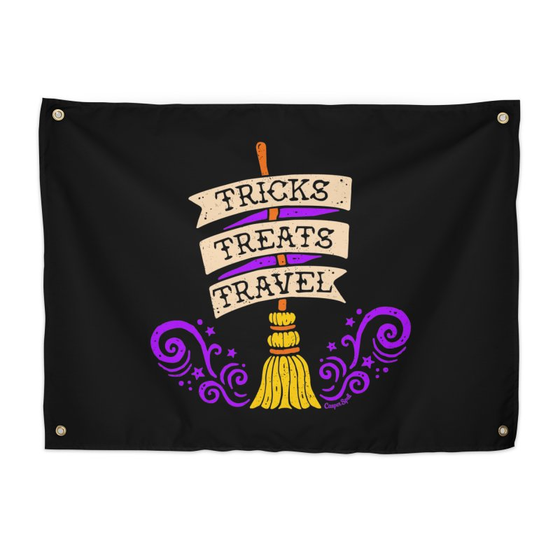 Tricks Treats Travel Home Tapestry by Casper Spell's Shop