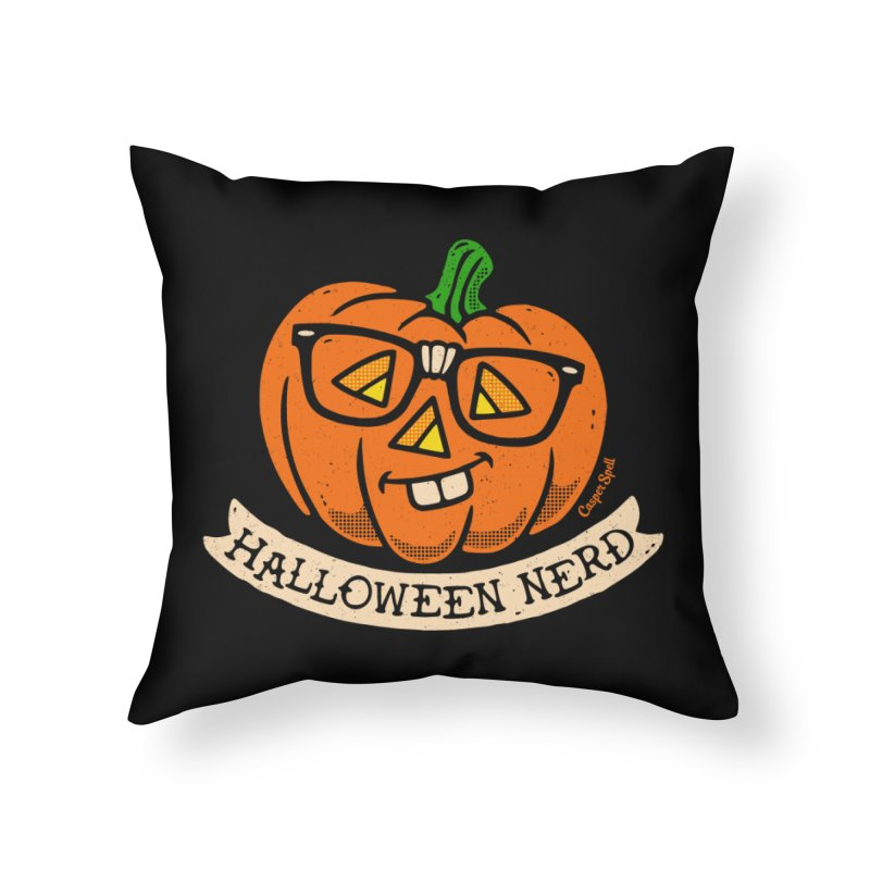 Halloween Nerd Home Throw Pillow by Casper Spell's Shop