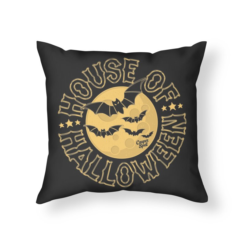 House of Halloween Home Throw Pillow by Casper Spell's Shop