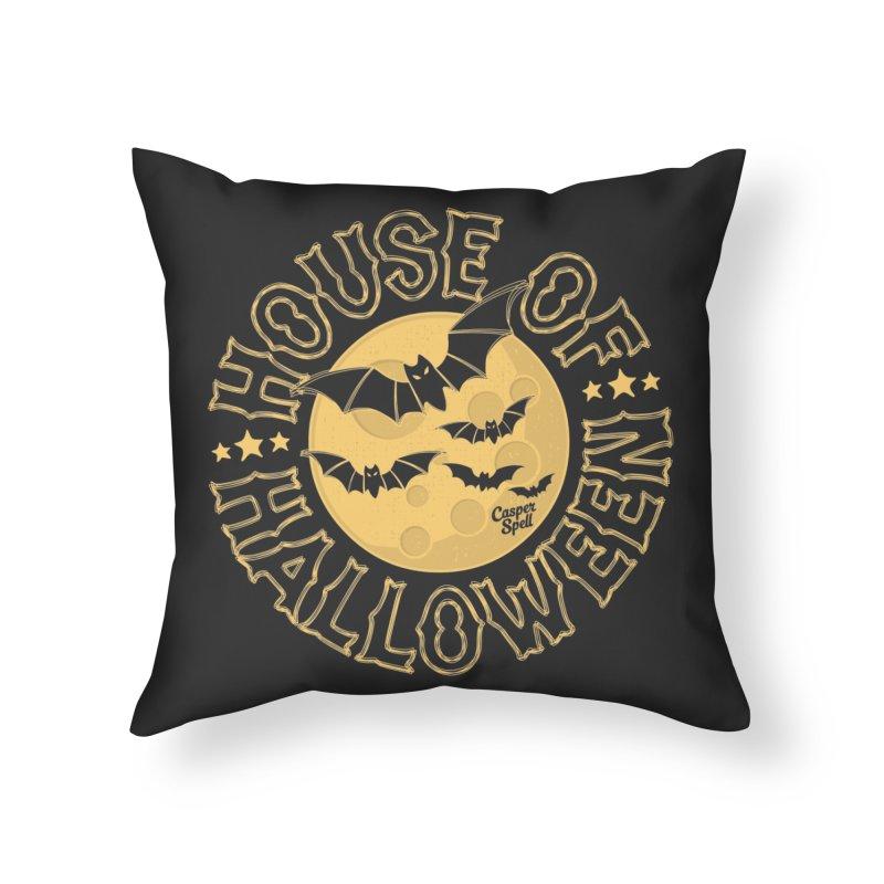 House of Halloween Home Throw Pillow by Casper Spell's Shop