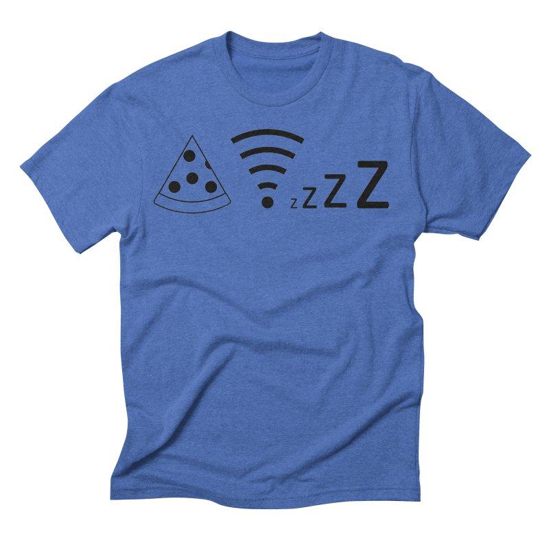 Pizza Wifi Naps Men's T-Shirt by Castaneda Designs