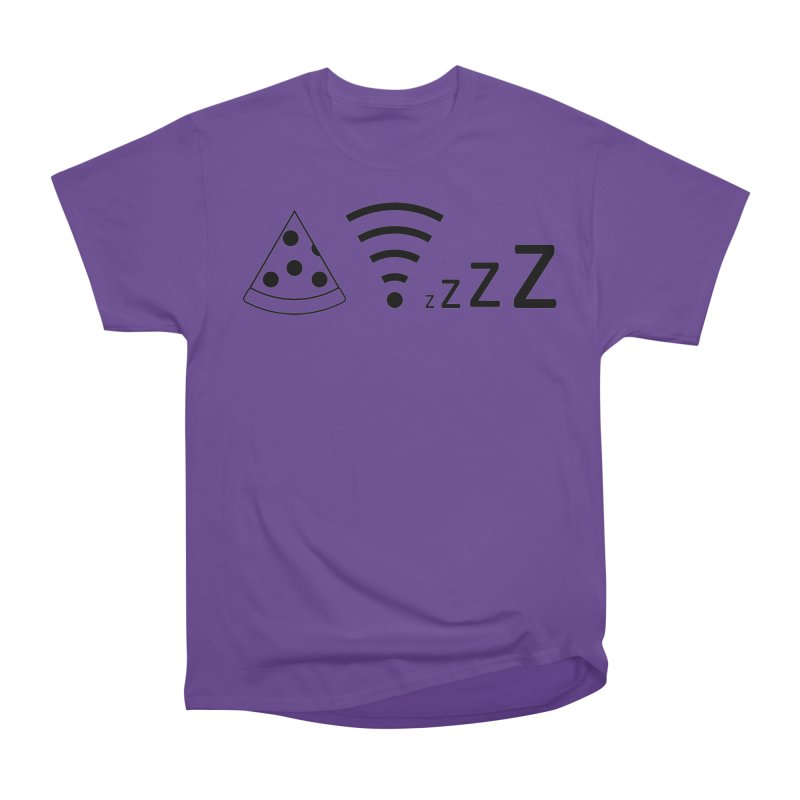 Pizza Wifi Naps Women's Heavyweight Unisex T-Shirt by Castaneda Designs