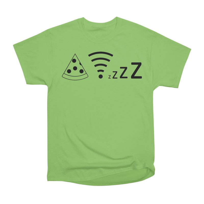 Pizza Wifi Naps Men's Heavyweight T-Shirt by Castaneda Designs