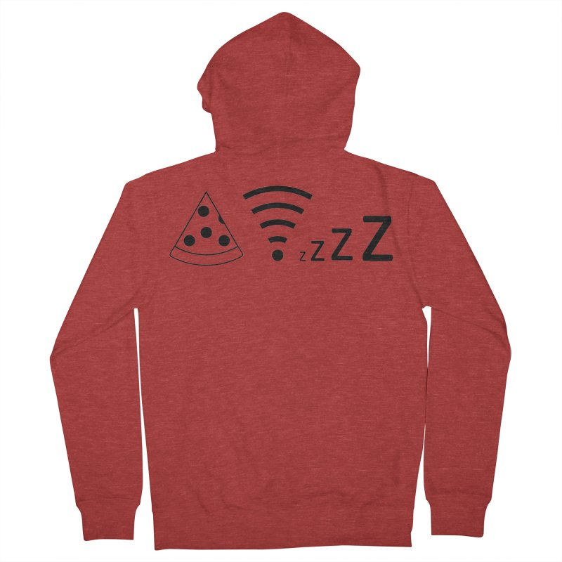 Pizza Wifi Naps Women's French Terry Zip-Up Hoody by Castaneda Designs