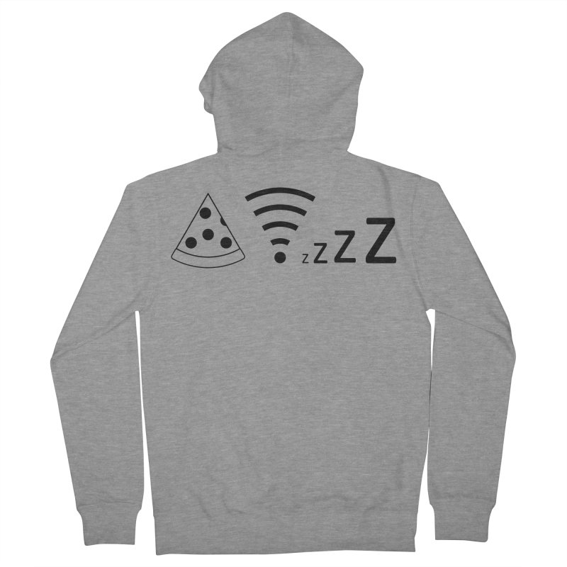 Pizza Wifi Naps Men's French Terry Zip-Up Hoody by Castaneda Designs