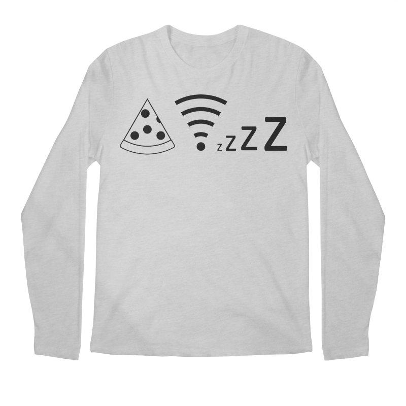 Pizza Wifi Naps Men's Regular Longsleeve T-Shirt by Castaneda Designs