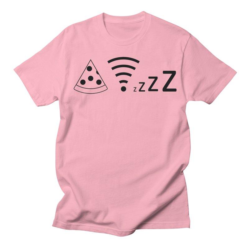 Pizza Wifi Naps Men's Regular T-Shirt by Castaneda Designs