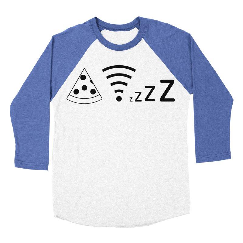Pizza Wifi Naps Women's Baseball Triblend Longsleeve T-Shirt by Castaneda Designs