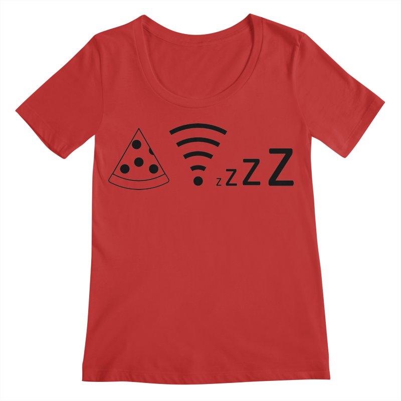 Pizza Wifi Naps Women's Regular Scoop Neck by Castaneda Designs