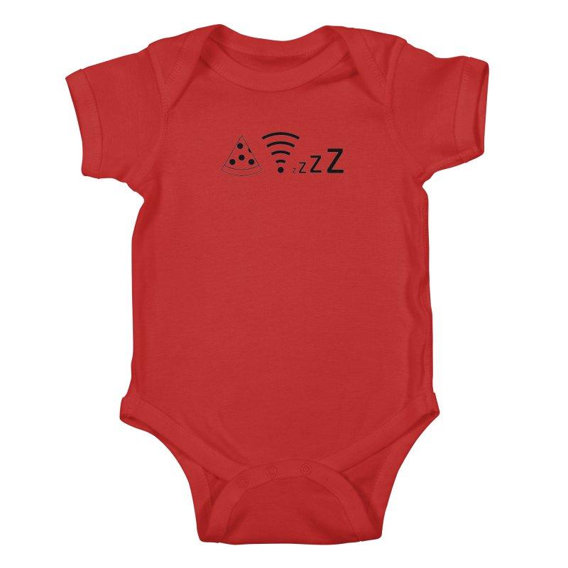 Pizza Wifi Naps Kids Baby Bodysuit by Castaneda Designs