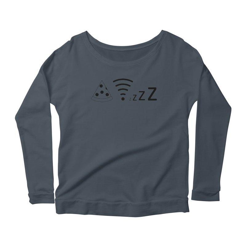 Pizza Wifi Naps Women's Scoop Neck Longsleeve T-Shirt by Castaneda Designs